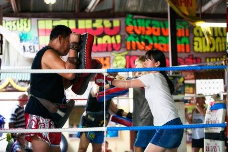 Unidentified boxers in Muaythai School in Bangkok