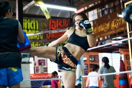 Unidentified boxers in Muaythai School in Bangkok