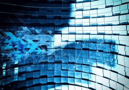 Photo pour Rendu 3D de fond technologie numérique flèche - image libre de droit