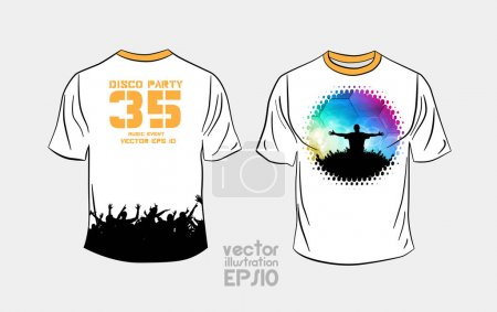 T-shirt template with party illustration