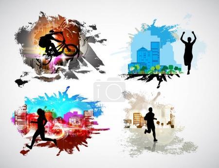 Illustration pour Affiches de sport vector illustration - image libre de droit