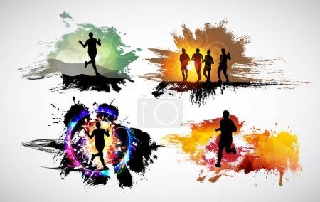 Illustration pour Marathoniens vector illustration - image libre de droit