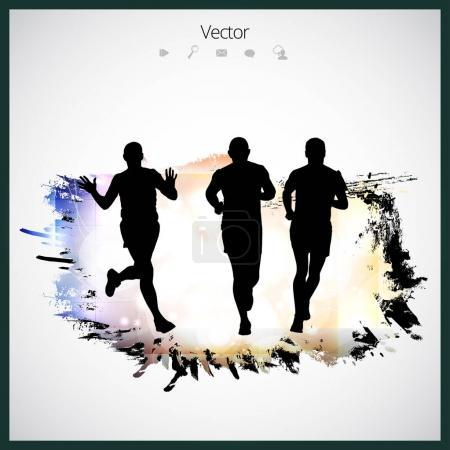 Silhouette of marathon runners
