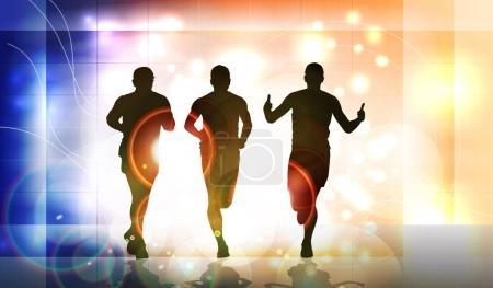 Illustration pour Silhouette de marathoniens, illustration vectorielle - image libre de droit
