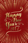 Happy New Year 2017 gold and red color lettering design illustration background Ideal for holiday greeting card or poster EPS10 vector