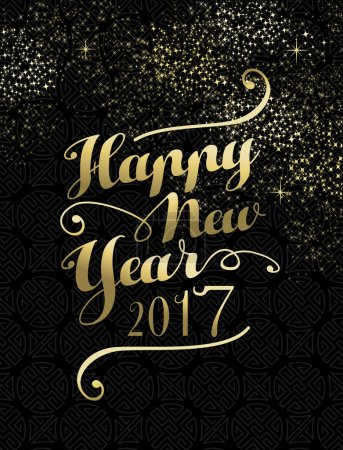 New Year 2017 gold lettering card design