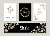 Merry Christmas set of gold flower designs with happy quotes and decoration Collection of labels cards banner for holiday season EPS10 vector