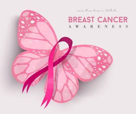 Illustration for Breast Cancer Awareness illustration, hand drawn pink ribbon with butterfly wings for support. EPS10 vector. - Royalty Free Image