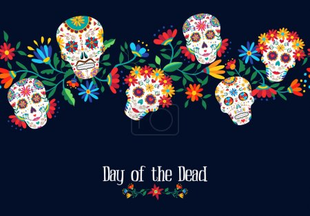 Day of the dead illustration with traditional mexi...
