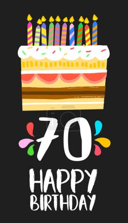 Happy Birthday cake card for 70 seventy year party