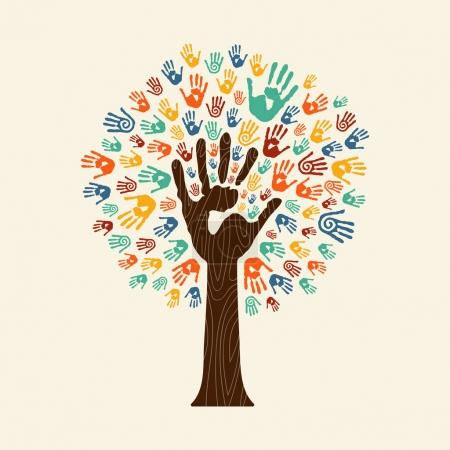 Illustration for Human handprint tree with hands of colorful ethnic group. Community help concept illustration. EPS10 vector. - Royalty Free Image