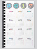 Colorful calendar design with scribbled color elements for year 2017