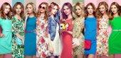 """Постер, картина, фотообои """"Группа красивых молодых женщин"""""""