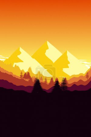 Forest and mountains in sunset