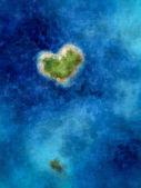 heart shaped island in blue sea