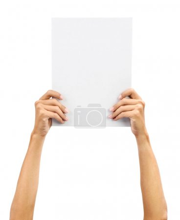 Photo for Hands holding A4 size white blank paper card board, isolated on plain background. - Royalty Free Image