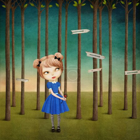 girl in the forest and signs on trees.
