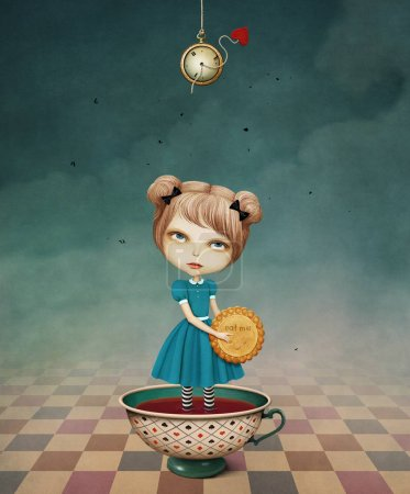 wonderland with girl in tea cup and biscuits