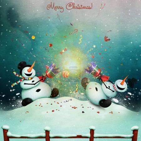snowmen with Christmas cracker.
