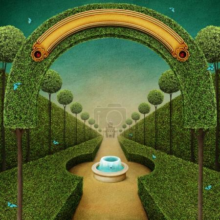 Photo for Conceptual fantasy green background with arch and Grand entrance to the Park with fountain. - Royalty Free Image