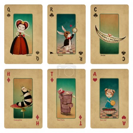 Fairytale fantasy collection playing cards Wonderland characters