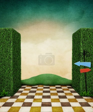 Landscape fairy tale background with green walls and going out into the field.