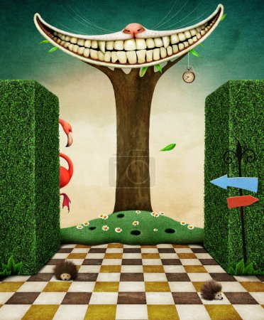 Fantasy illustration with smile on the tree and flamingo in the garden