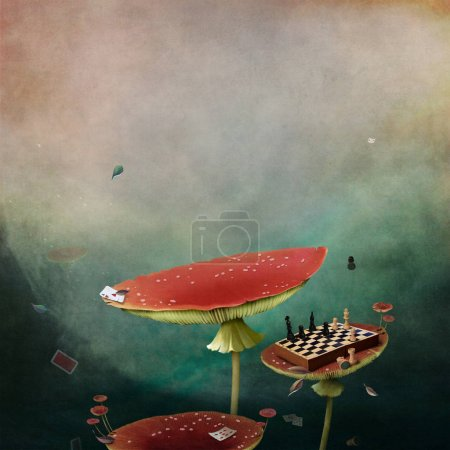 Conceptual fantasy tale background for Wonderland with red poisonous mushrooms Amanita