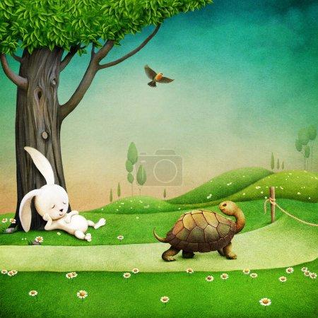 Photo pour Illustration de la fable d'Esope sur la tortue et le lapin, qui a concouru à celle qui est la plus rapide - image libre de droit