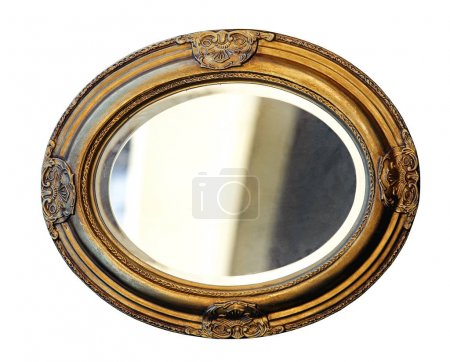 Photo pour Golden Oval Miroir Frame Isolé Inclus Clipping Path - image libre de droit