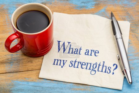 Photo for What are my strengths question - handwriting on a napkin with a cup of coffee - Royalty Free Image