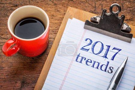 2017 trends on blackboard on clipboard