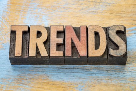 trends word abstract in wood type