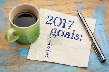 2017 goals list on napkin