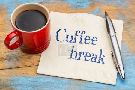 Photo for Coffee break handwriting on a napkin with a stoneware cup - Royalty Free Image