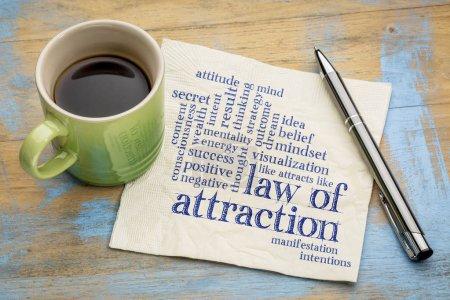 Foto de Ley de nube de word de atracción en una servilleta con taza de café - Imagen libre de derechos