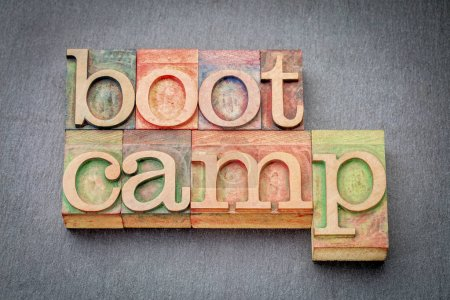 boot camp word abstract in wood type