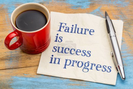 Photo for Failure is success in progress - handwriting on a napkin with a cup of coffee - Royalty Free Image