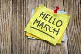 Hello March greetings on a sticky note