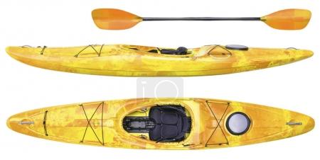 Photo for Side and top view of crossover kayak (whitewater and river running kayak) and paddle isolated on white - Royalty Free Image