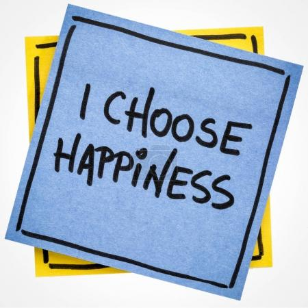 Photo for I choose happiness positive affirmation - handwriting on an isolated sticky note - Royalty Free Image