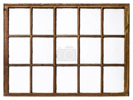 Photo pour Panneau de vintage, grunge, fenêtre à guillotine avec verre sale (15 vitres), isolé sur blanc - image libre de droit