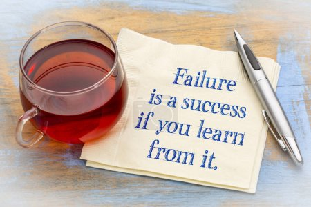 Photo for Failure is a success if your learn from it - handwriting on a napkin - Royalty Free Image