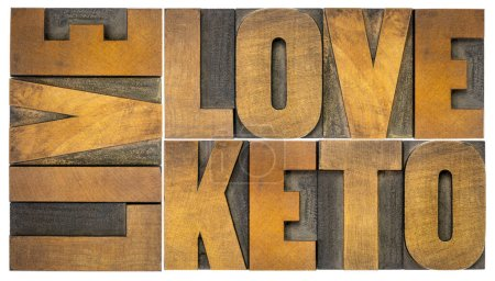 Photo for Live, love keto, high fat ketogenic diet concept - isolated word abstract in vintage letterpress wood type, healthy lifestyle - Royalty Free Image