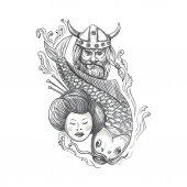 Viking kapr gejša hlava tetování