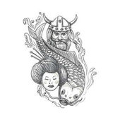 Viking Karpfen Geisha Kopf Tattoo