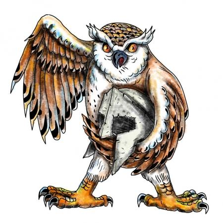 Owl Holding Spartan Helmet Tattoo