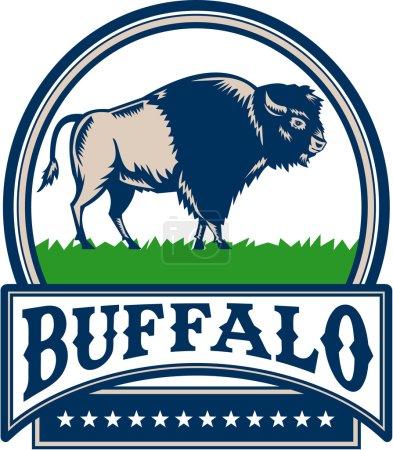 Illustration pour Illustration d'un taureau buffle bison américain vu du côté placé à l'intérieur du cercle et le mot Buffalo dans une bannière avec des étoiles faites dans un style rétro Woodcut . - image libre de droit