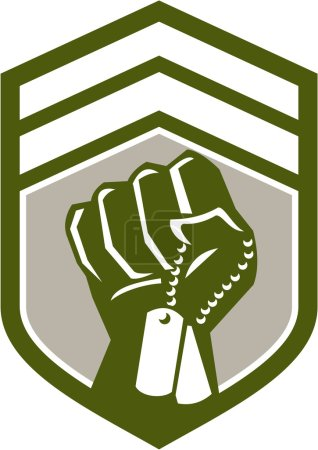 Clenched Fist Dogtag Crest Retro