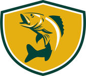 Walleye Fish Jumping Crest Retro